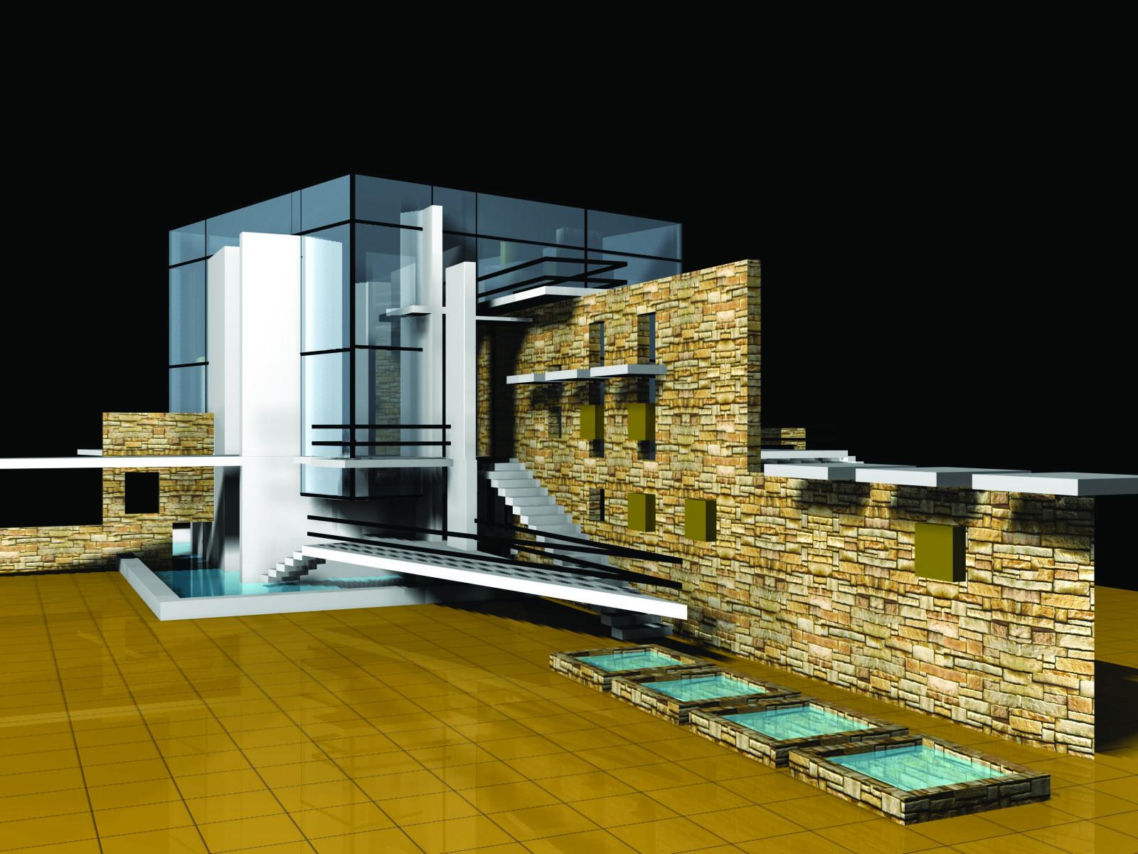 Дом-куб рендер 01
