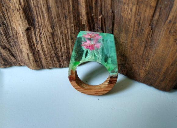 Anel Madeira e Resina - Secret Flor