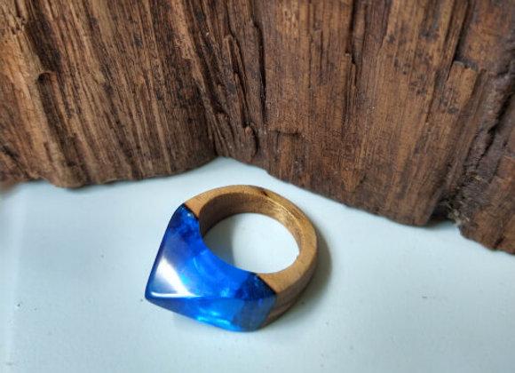 Anel Madeira e Resina - Secret Azul