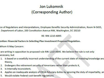 Letter from Jon Lukomnik, Managing Partner at Sinclair Capital, and Co-Signers