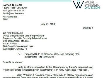 James S. Beall's Letter to the DOL