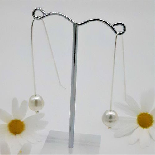 STERLING SILVER LONG SLIM SOUTH SEA PEARL HOOKS