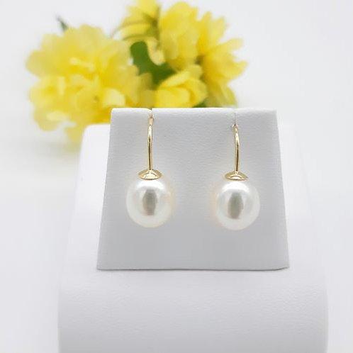 SIMPLE 9CT YELLOW GOLD PEARL HOOK EARRINGS