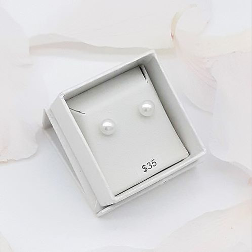 7mm WHITE PEARL STUDS