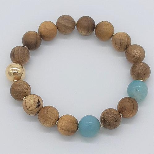 Sandalwood, Gold & Amazonite bracelet