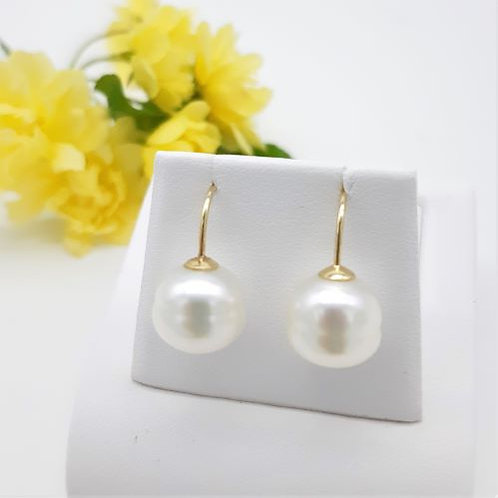 9CT YELLOW GOLD SOUTH SEA CULTURED PEARL FIXED FRENCH HOOK EARRING