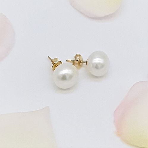 9CT YELLOW GOLD CULTURED FRESH WATER PEARL STUD EARRINGS