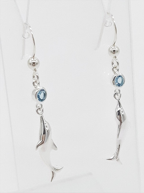 SILVER DOLPHIN & SAPPHIRE HOOK EARRINGS