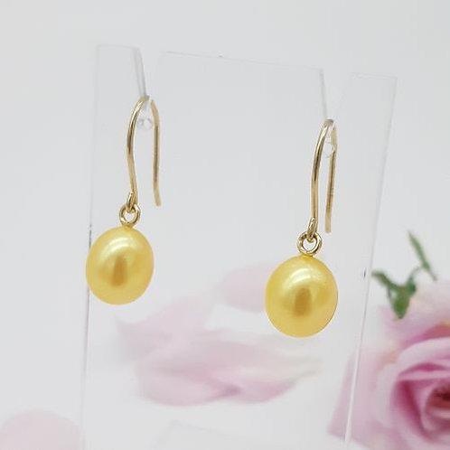 FINE 9CT YELLOW GOLD PEARL EARRINGS