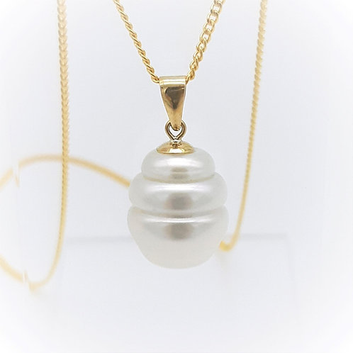 9CT YELLOW GOLD AUSTRALIAN SOUTH SEA PEARL PENDANT