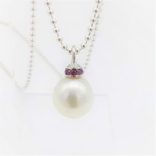 AUSTRALIAN SOUTH SEA PEARL PENDANT WITH PINK SAPPHIRES