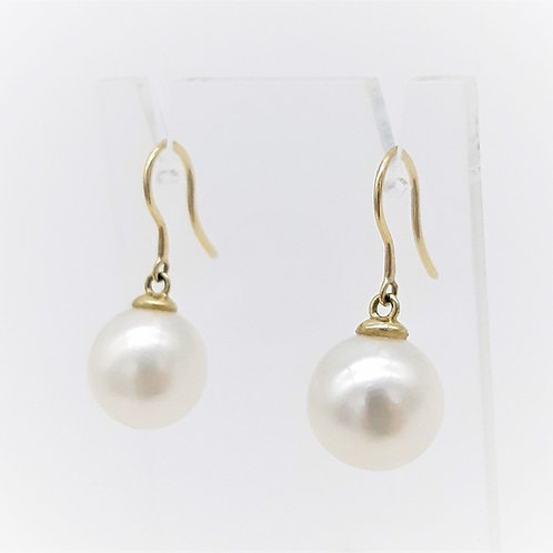 9CT YELLOW GOLD ROUND PEARL HOOK EARRINGS