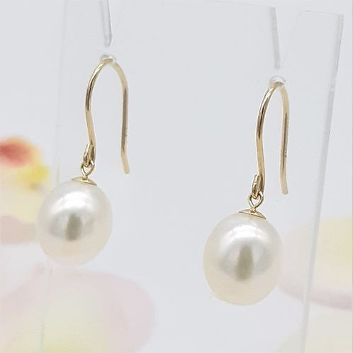 FINE 9CT YELLOW GOLD PEARL EARRINGS