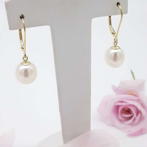 9CT YELLOW GOLD CONTINENTAL PEARL EARRINGS