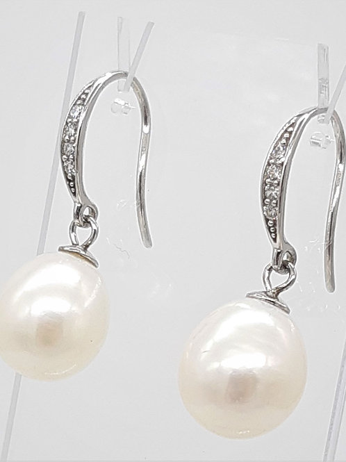 PEARL HOOK EARRINGS WITH PAVE CZ