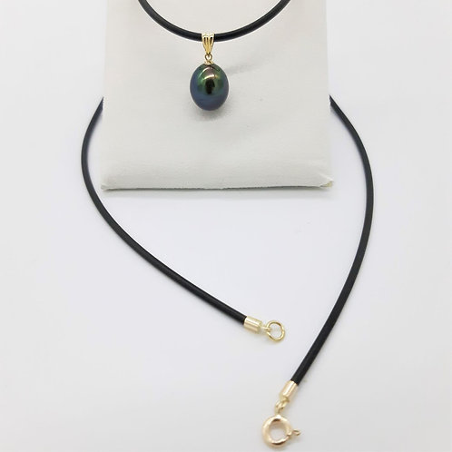 9CT YELLOW GOLD BLACK PEARL PENDANT WITH NEO NECKLET