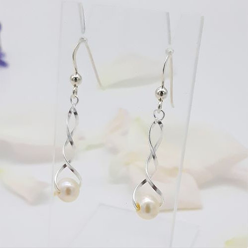 STERLING SILVER PEARL TWIST HOOK EARRINGS