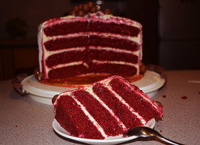 Red Velvet Cake with red marble effect