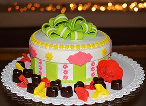 Gift Box Cake with caramel center heart chocolate bonbons