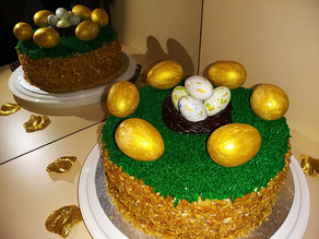 Carrot Cake with gold marble chocolate eggs
