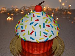 Giant chocolate cupcake cake