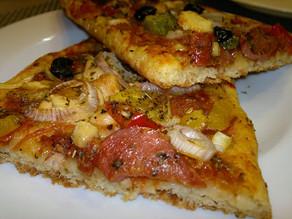 Thin cheesy crust pizza