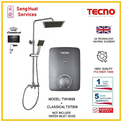TECNO TWH688 Instant  Heater+CLASSICLA Rain Shower ( SERVICES OPTION TO SELECT)