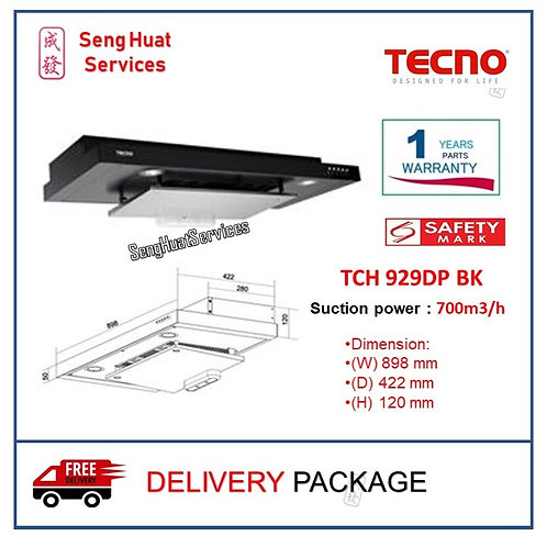 Tecno TCH 929DP BK Slim Line Hood with DYNA-X Motor (Full Black) COD