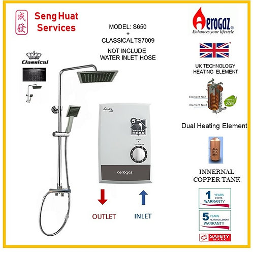 Aerogaz S650 Instant Heater +CLASSICAL Rain Shower ( SERVICES OPTION TO SELECT )