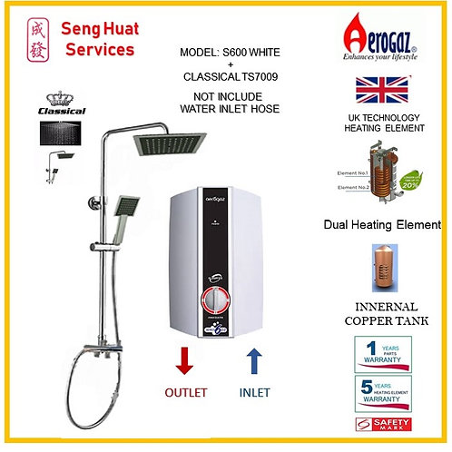 Aerogaz S600 WH Heater +CLASSICAL TS7009 Rain Shower (SERVICES OPTION TO SELECT)