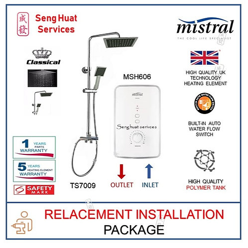 Mistral MSH606 Instant Heater + CLASSICAL Rain Shower REAPLACE