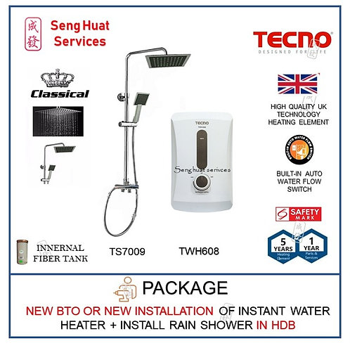NEW BTO INSTALL Tecno TWH608 Instant Water Heater + Rain Shower
