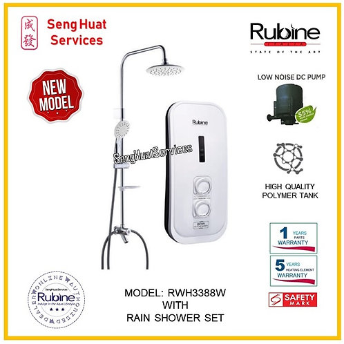 Rubine RWH 3388W  Heater + Rain Shower ( SERVICES OPTION TO SELECT )