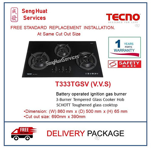 Tecno T333TGSV (V.V.S) 3 Burner 90cm Tempered Glass Hob COD