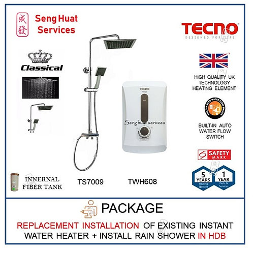 REPLACE INSTALL Tecno TWH608 Instant Water Heater + Rain Shower COD