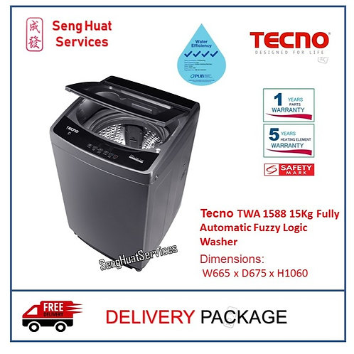 Tecno TWA1588 15Kg Fully Automatic Fuzzy Logic Washer DELIVERY