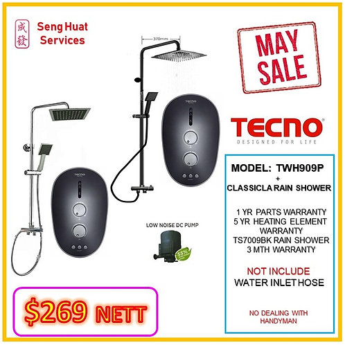 Tecno TWH909P Heater + CLASSICLA BLACK Rain Shower MAY SALE