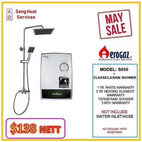 cAerogaz S850 Instant heater + CLASSICAL Rain Shower ( WALK-IN CASH AND CARRY )