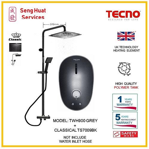 TECNO TWH900 Heater+CLASSICLA BLACK Rain Shower ( SERVICES OPTION SELECT)