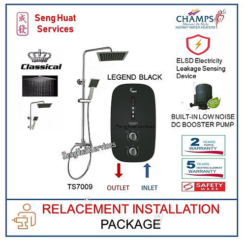 Champs Legend BK Instant Water Heater + CLASSICAL Rain Shower REPLACE COD