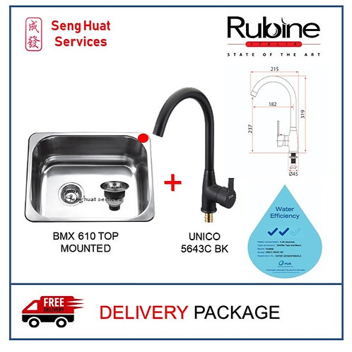 Rubine BMX 610 TOP MOUNTED Sink + RUBINE Sink Tap ON RIGHT SIDE DELIVERY