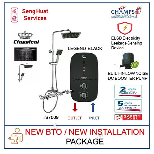 Champs LEGEND BLACK Instant Heater + CLASSICALRain Shower NEW BTO INSTALL COD
