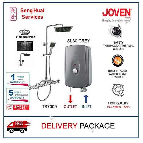 Joven SL30 GREY Instant Heater + CLASSICAL Rain Shower With Delivery COD