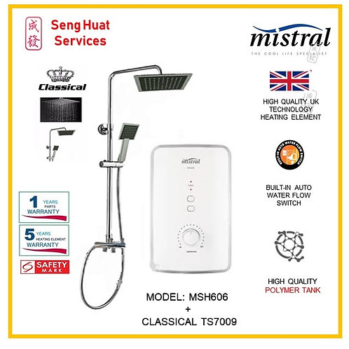 Mistral MSH606  Heater + CLASSICAL Rain shower ( SERVICES OPTION TO SELECT)