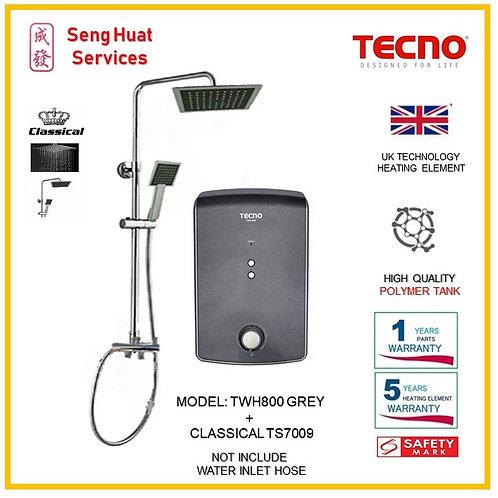 TECNO TWH800  GREY  Heater+CLASSICLA Rain Shower ( SERVICES OPTION TO SELECT)
