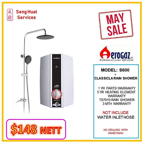 Aerogaz S600 Instant heater + TS7010 Rain Shower MAY SALE