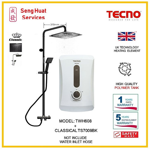 TECNO TWH608  Heater+CLASSICLA BLACK  Rain Shower ( SERVICES OPTION TO SELECT)