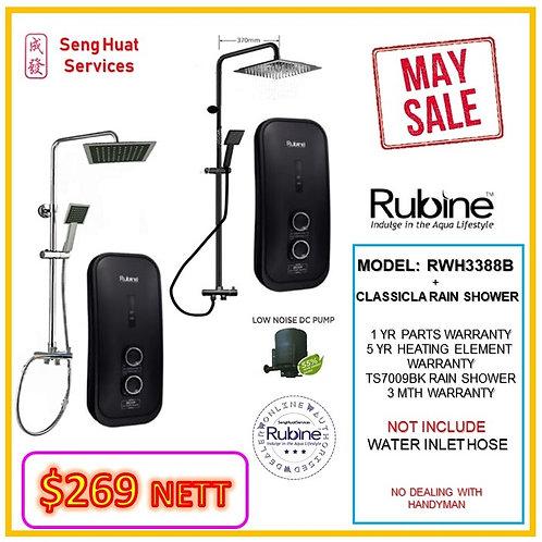 Rubine RWH 3388B +CLASSICAL BLACK Rain shower MAY SALE