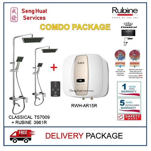 Rubine AR15R 15 15L Storage Heater + Rain Shower Set With Mixer Tap DELIVERY