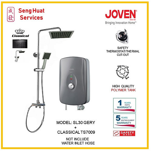 Joven SL30 GREY Instant Heater+CLASSICAL Rain Shower (SERVICES OPTION TO SELECT)